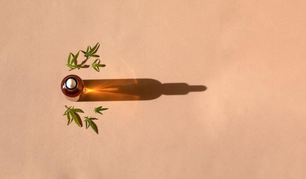 olej CBD z liśćmi konopi siewnych i długim cieniem
