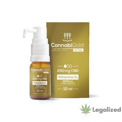 Olej konopny CBD CannabiGold Vital z witaminą d3, 250 mg CBD w 12 ml olejku