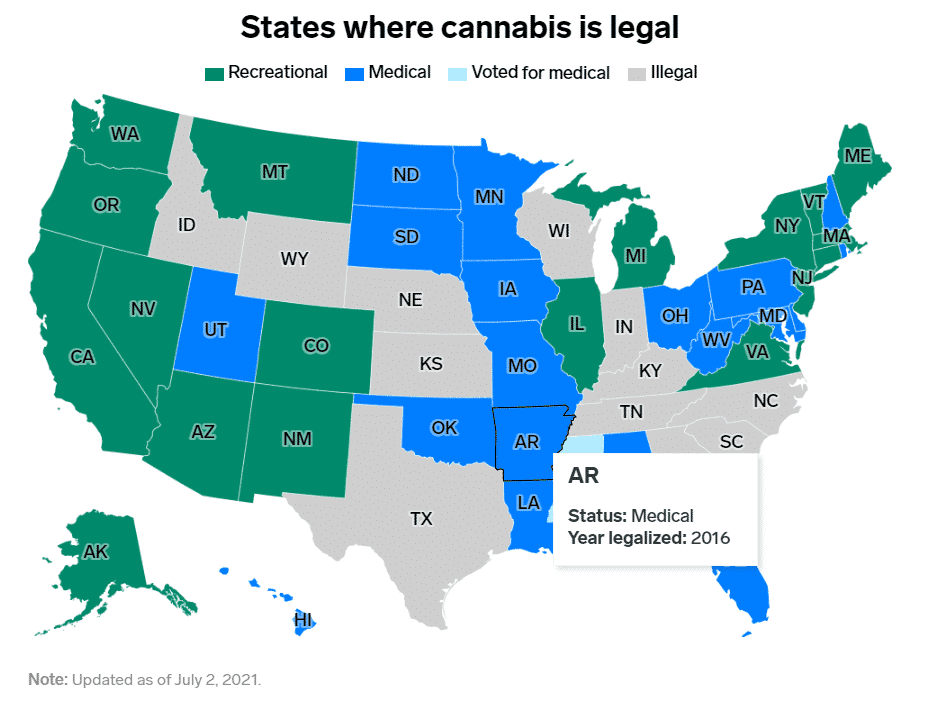Stany USA gdzie marihuana jest legalna do użytku własnego, medycznego, dekryminalizowana lub zabroniona, mapa kraju