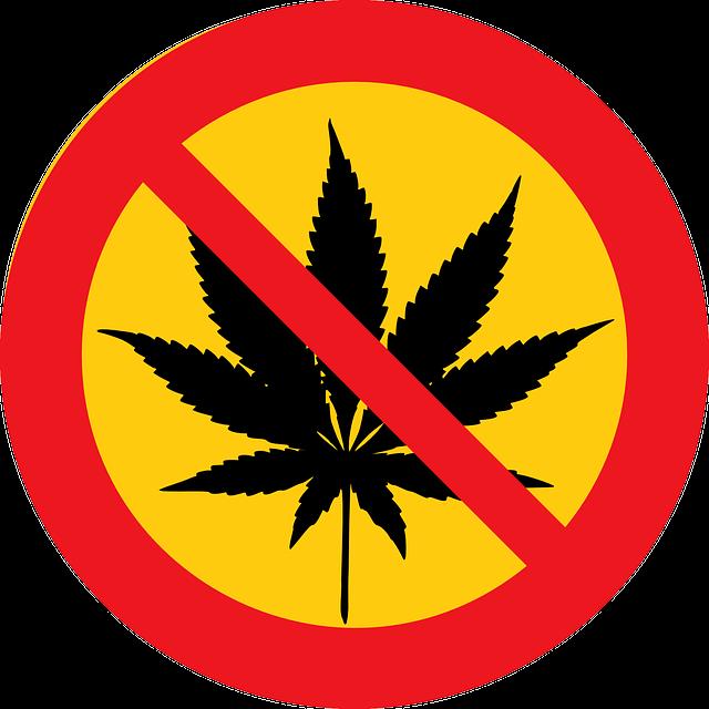 Zakaz palenia marihuany znak konopi